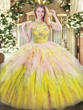 Multi-color Sweet 16 Dress Military Ball and Sweet 16 and Quinceanera with Beading and Ruffles Halter Top Sleeveless Zipper