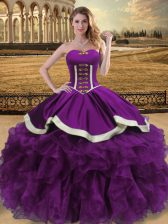 Admirable Ball Gowns 15 Quinceanera Dress Eggplant Purple Sweetheart Organza Sleeveless Floor Length Lace Up