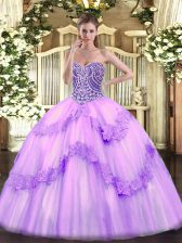 Floor Length Lavender Quinceanera Dresses Tulle Sleeveless Beading and Appliques