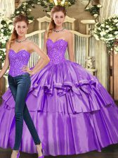 Cute Eggplant Purple Quinceanera Gown Military Ball and Sweet 16 and Quinceanera with Beading and Ruffled Layers Sweetheart Sleeveless Lace Up