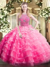 Dazzling Rose Pink Ball Gowns Halter Top Sleeveless Organza Floor Length Zipper Beading and Ruffled Layers Sweet 16 Dress