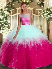 Beading and Ruffles Quinceanera Gown Multi-color Backless Sleeveless Floor Length