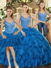 Unique Sleeveless Lace Up Floor Length Beading and Ruffles 15 Quinceanera Dress