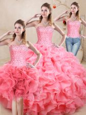 Decent Sleeveless Floor Length Beading and Ruffles Lace Up Sweet 16 Quinceanera Dress with Watermelon Red