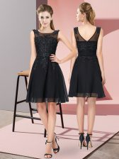 Scoop Sleeveless Zipper Dama Dress for Quinceanera Black Chiffon