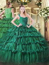Dark Green Sleeveless Floor Length Ruffled Layers Zipper 15 Quinceanera Dress