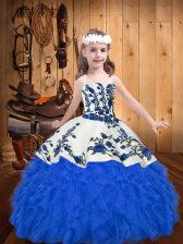 Dazzling Organza Straps Sleeveless Lace Up Embroidery and Ruffles Glitz Pageant Dress in Blue