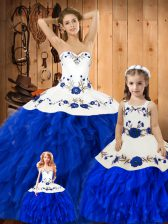 Blue And White Ball Gowns Satin and Organza Sweetheart Sleeveless Embroidery and Ruffles Floor Length Lace Up Quinceanera Gown