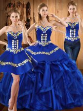 New Style Royal Blue Lace Up Sweetheart Embroidery and Ruffles Sweet 16 Quinceanera Dress Organza Sleeveless