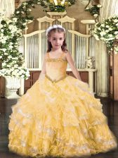 Floor Length Gold Pageant Dresses Straps Sleeveless Lace Up