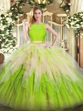 Best Floor Length Yellow Green Quinceanera Gown Organza Sleeveless Lace and Ruffles