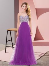 Great Floor Length Empire Sleeveless Eggplant Purple Quinceanera Court Dresses Lace Up