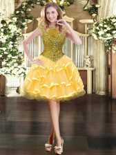 Elegant Gold Ball Gowns Beading and Ruffled Layers Dress for Prom Zipper Organza Cap Sleeves Mini Length