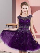 Scoop Sleeveless Tulle Evening Dress Beading Backless