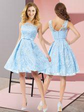 Aqua Blue Lace Zipper Quinceanera Dama Dress Sleeveless Knee Length Bowknot