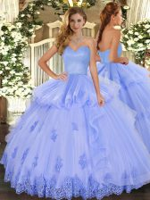 Traditional Light Blue Ball Gowns Beading and Appliques and Ruffles 15th Birthday Dress Lace Up Tulle Sleeveless Floor Length
