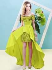 Elastic Woven Satin and Sequined Short Sleeves High Low Homecoming Dress and Beading