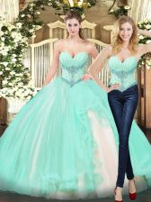 Cute Apple Green Organza Lace Up Sweetheart Sleeveless Floor Length 15 Quinceanera Dress Beading and Ruffles