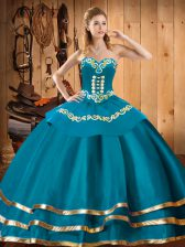 Attractive Organza Sweetheart Sleeveless Lace Up Embroidery Quinceanera Gown in Teal