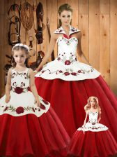 Artistic Wine Red Halter Top Lace Up Embroidery Ball Gown Prom Dress Sleeveless