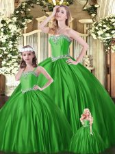 Green Tulle Lace Up Sweet 16 Quinceanera Dress Sleeveless Floor Length Beading