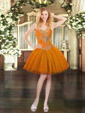 Elegant Orange Ball Gowns Tulle Sweetheart Sleeveless Beading Mini Length Lace Up Prom Party Dress