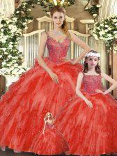 Glamorous Red Sleeveless Beading and Ruffles Floor Length Vestidos de Quinceanera