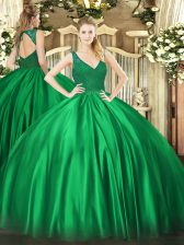 Attractive Satin V-neck Sleeveless Backless Beading and Lace Quinceanera Dresses in Dark Green