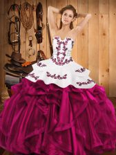 Custom Made Fuchsia Strapless Neckline Embroidery and Ruffles Quinceanera Dress Sleeveless Lace Up