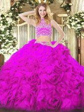 Fuchsia Two Pieces Beading and Ruffles 15 Quinceanera Dress Backless Tulle Sleeveless Floor Length