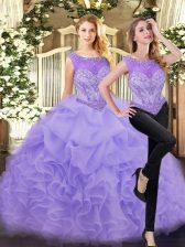 Floor Length Lavender Sweet 16 Dresses Scoop Sleeveless Zipper
