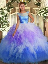 Multi-color Sleeveless Floor Length Lace and Ruffles Backless 15 Quinceanera Dress