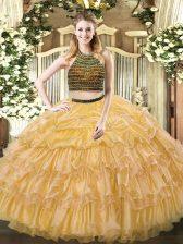 Sumptuous Floor Length Gold Vestidos de Quinceanera Organza Sleeveless Beading and Ruffled Layers