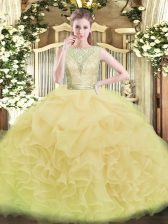 Yellow Green Sleeveless Floor Length Lace and Ruffles Backless Sweet 16 Dresses