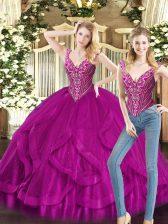 High Class Fuchsia Organza Lace Up V-neck Sleeveless Floor Length Vestidos de Quinceanera Beading and Ruffles