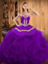 Sophisticated Purple Ball Gowns Embroidery and Ruffles Quinceanera Dress Lace Up Organza Sleeveless Floor Length