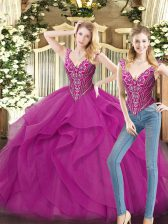 Extravagant Fuchsia Sleeveless Beading and Ruffles Floor Length Quince Ball Gowns