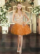 Low Price Sleeveless Lace Up Mini Length Beading and Ruffles Prom Party Dress