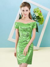 Suitable Sequined Off The Shoulder Short Sleeves Zipper Sequins Prom Dress in
