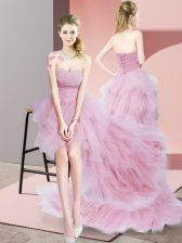 Elegant Sweetheart Sleeveless Lace Up Quinceanera Court of Honor Dress Baby Pink Tulle