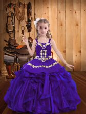 Purple Ball Gowns Straps Sleeveless Organza Floor Length Lace Up Embroidery and Ruffles Pageant Dress for Teens