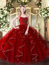 Wine Red Zipper Straps Ruffles Quinceanera Gown Organza Sleeveless