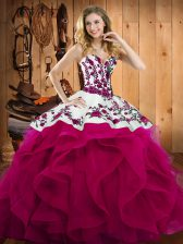 High Quality Fuchsia Lace Up Sweetheart Embroidery Sweet 16 Dresses Satin and Organza Sleeveless