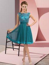 Stunning Teal Chiffon Backless Prom Dress Sleeveless Knee Length Appliques