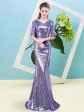 Extravagant Lavender Mermaid Sequined Scoop Half Sleeves Sequins Floor Length Zipper Prom Gown