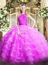 Fitting Ruffled Layers Sweet 16 Quinceanera Dress Lilac Zipper Sleeveless Floor Length