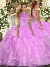 Graceful Lilac Sleeveless Beading and Ruffles Floor Length Sweet 16 Dress