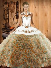 Multi-color Sweet 16 Quinceanera Dress Fabric With Rolling Flowers Sweep Train Sleeveless Embroidery