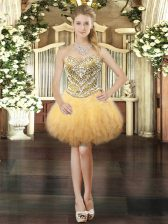 Enchanting Gold Ball Gowns Beading and Ruffles Homecoming Dress Lace Up Tulle Sleeveless Mini Length