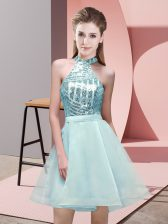 Sumptuous Aqua Blue Sleeveless Chiffon Backless Court Dresses for Sweet 16 for Prom and Party and Wedding Party